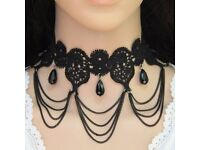 Vintage Black Oval Shape Gemstone Pendant Decorated Tassel Choker