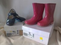 Girls Clark's Patent leather shoes and pink wellies size 6.5F