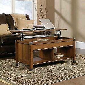 Sauder Carson Forge Lift-Top Coffee Table Washington Cherry Fini