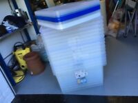 19 x 50 litre Maxi Clear Boxes with 17 lids - 58cm x 40cm - Used but good - Great Saving