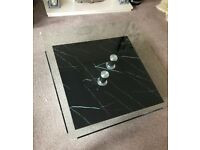 Sparta: Square Coffee Table Faux marble base with glass top