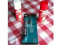 GAS SOLDERING IRON / TORCH PLUS 2 x BUTANE GAS REFILL AEROSOL CANS