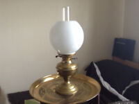 Brass oil lamp 19inches tall with glass shade and chimney