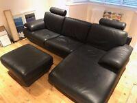 Natuzzi Black Leather Corner Sofa