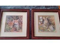 set of 6 framed glenda rae wildlife pictures