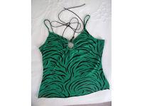 Women's Evie green/black animal print effect halter & strappy top. Size 10-12.