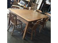 solid pine large dining table with 2 drawers & 7 chairs, beautiful wood