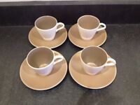 4 X POOLE COFFEE CUPS AND SAUCERS, VERY SMALL CHIP IN ONE CUP NEAR HANDLE