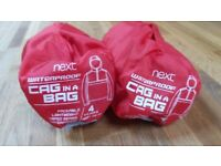 2 next kids red Cag in a Bag waterproof jackets with hoods. As new - Age 4