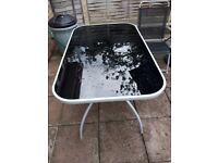 Black 4 seat table and chair garden set with umbrella and base