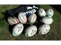 9 Match Rugby Balls and large Ball Kit Bag
