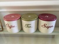 "Tea/coffee/sugar ""Button"" Storage Jars"
