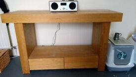 Solid Oak Console table with two drawers
