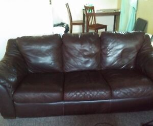 2 Full Size Leather Couches +Single Leather Chair