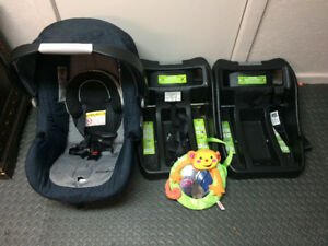 Car seat with 2 bases and backseat mirror