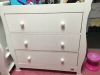 White sleigh cotbed and changing table drawers unit