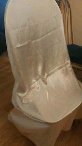 White satin chair covers
