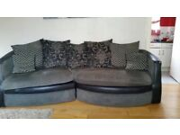 LARGE FABRIC SOFA & SNUGGLE CHAIR