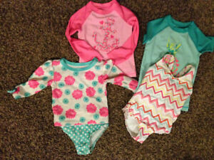 Girl Toddler swim suits and UV shirts- size 3