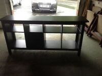 Console table (Ikea) in black/brown with storage basket and corner TV stand