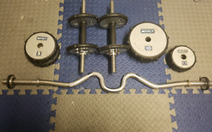 Weight plates + dumbells and curl bar
