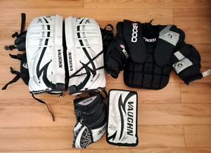 Goalie pads,chest protector and gloves