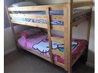 Natural unvarnished single 3ft pine bunk beds with ladder and safety rails