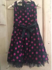 Black and pink halterneck dress