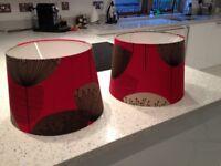 JOHN LEWIS RED DANDELION LAMPSHADES X 2