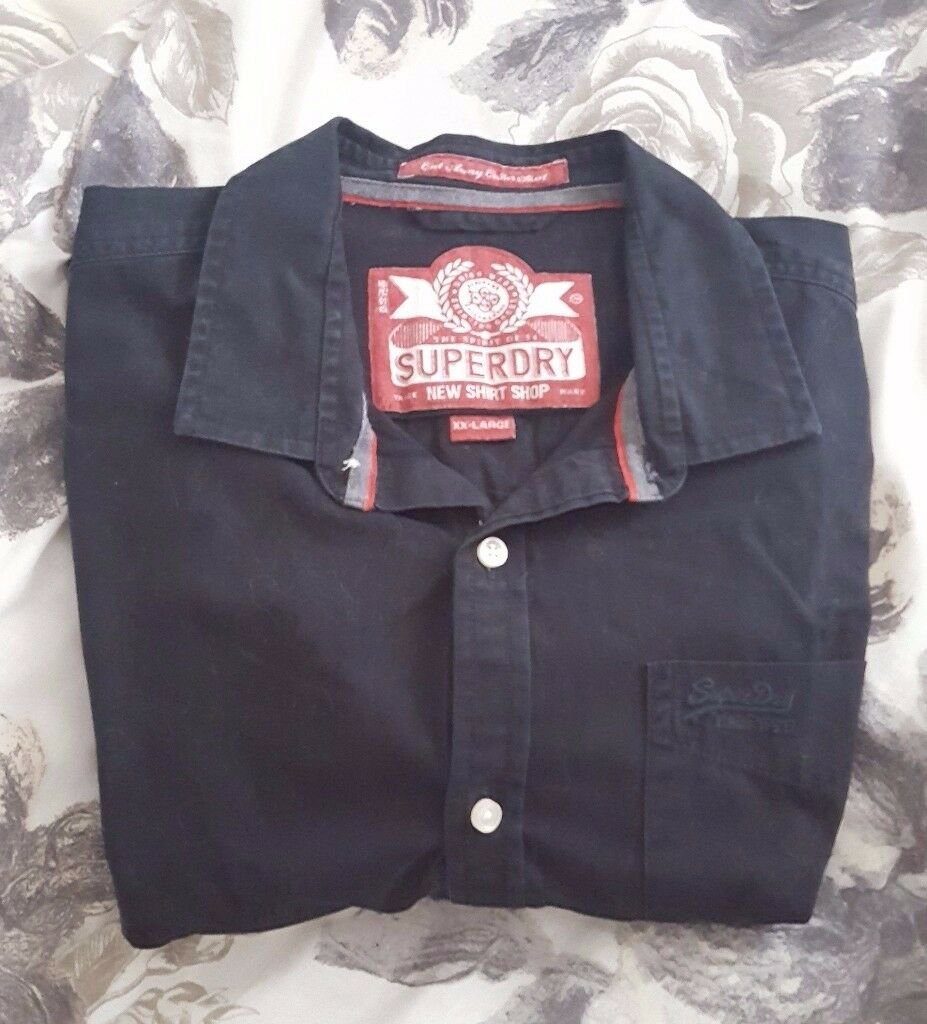 Men's Superdry Black Cotton Long Sleeved Shirt in great condition – size XXL