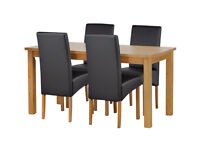 HOME Lincoln Solid Wood Table & 4 Skirted Chairs - Black
