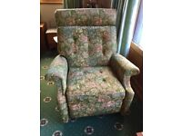 PARKER KNOWLES RECLINING FLORAL GREEN ARMCHAIR