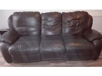 Brown Leather 3 Seater Reclining Sofa