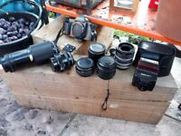 Canon camera and selection of camera lenses