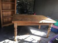 Rustic solid pine farmhouse table