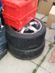 4 Tires, 4 Rims and 4 Hubcaps!! Barely Used!!!!