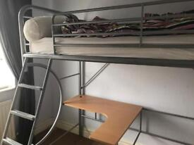 Bunk Bed with desk and stool
