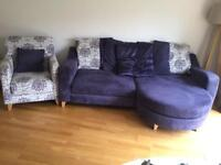 4 seater L shaped sofa and matching chair