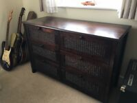 Mahogany bedroom furniture with rattan - Wardrobe, drawers & B'side cab