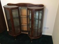 Beautiful Vintage Lockable Double Bow Fronted China Display Cabinet.