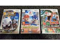 Mario & Sonic At The Olympics, Worms Battle Islands, Rabbids 2 - 3 Nintendo Wii Games