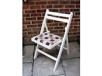 Quaint Wooden Folding Dining/Living/Kitchen Chair painted in Antique White Colour
