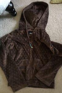 Brown Triple Flip popcorn soft velvety fall jacket hoodie