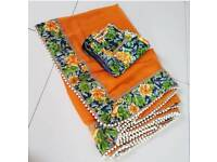 Orange floral summer Saree