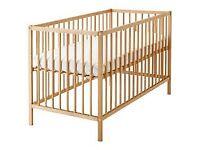 Ikea Sniglar cot with mattress, sheets and bumper