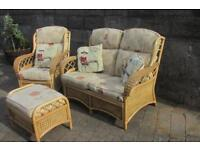 conservatory set small 2 seater, one chair and stool, in wicker