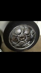 TIRES, RIMS WITH SPINNERS