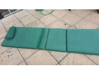 Sun lounger huge cushions with pillow full length in green