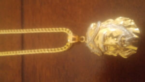 10K GOLD BOXED FRANCO WITH 10K JESUS PENDANT **NEW**
