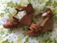 Tan wedge sandals size 6 New